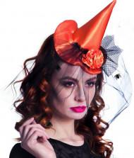 Mini chapéu bruxa cor de laranja mulher Halloween