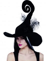 Chapéu de bruxa preto com penas mulher Halloween