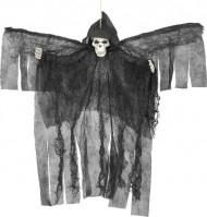 Decoração para pendurar anjo preto esquelético Halloween