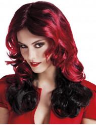 Peruca semi-longa vermelha e preta mulher