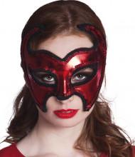 Mascarilha demónio vermelha brilhante mulher Halloween