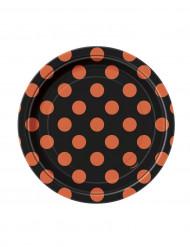 8 Pratos pequenos pretos as bolas cor de laranja de cartão