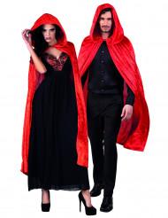 Capa vermelha aspeto veludo 120 cm adulto Halloween