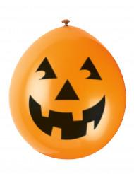 10 Balões abóbora sorridente Halloween