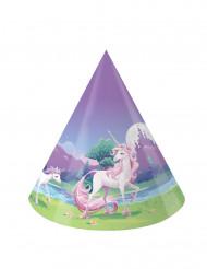 8 Chapéus de festa Unicórnio mágico