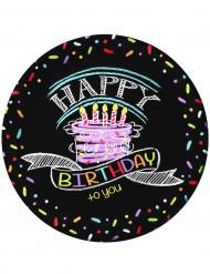 8 Pratos em cartão aniversário Happy Birthday 23cm