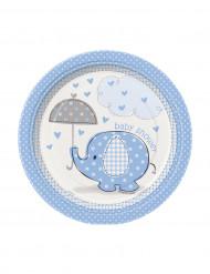 8 pratos de cartão pequenos elefante azul