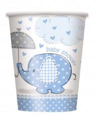 8 Copos de cartão elefante azul 25 cl