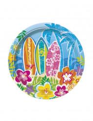 8 pratos em cartão Hula festa na praia 18cm