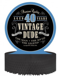 Centro de mesa de papel aniversário Vintage 40 anos 30 x 30 cm