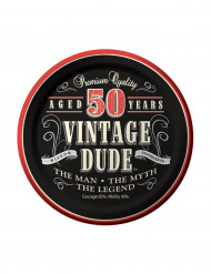 8 Pratos pequenos Aniversário Vintage 50 anos 18 cm