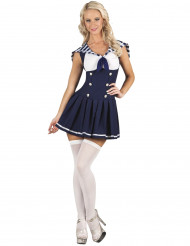 Disfarce marinheiro azul-escuro sexy mulher