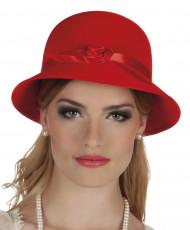 Chapéu charleston anos 20 vermelho mulher