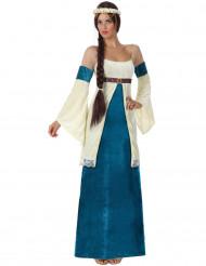 Disfarce medieval azul para mulher