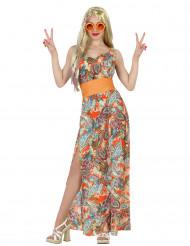 Disfarce hippie desenhos cor de laranja mulher
