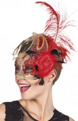 Meia máscara veneziano transparente e vermelho adulto