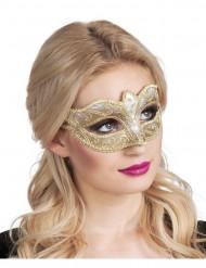 Mascarilha veneziana dourada brilhante mulher