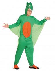 Disfarce dinossauro verde e cor de laranja homem