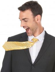 Gravata dourada com lantejoulas adulto