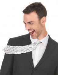 Gravata com lantejoulas prateadas