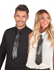 Gravata Preta com lantejoulas transparentes para adulto