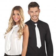 Gravata Branca com lantejoulas transparentes para adulto