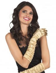 Luvas compridas acetinada dourada mulher