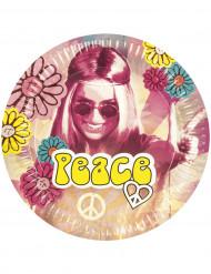 6 pratos em cartão Hippie Flower Power