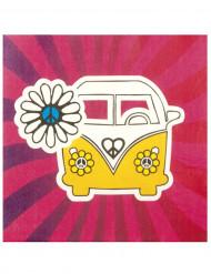 12 guardanapos em papel Hippie Flower Power