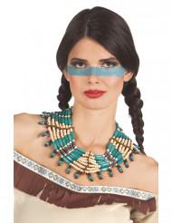 Colar índio azul mulher