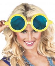 óculos redondos gigantes amarelos adulto