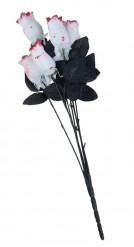 Ramo de 6 rosas brancas sangrentas Halloween