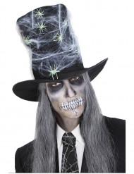 Chapéu alto teias de aranha adulto Halloween
