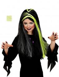 Peruca bruxa preta e branca fosforescente menina Halloween