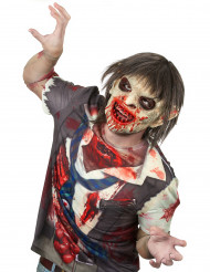 Máscara luxo látex zombie sangrento com cabelos adulto Halloween