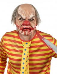 Máscara luxo de látex palhaço sangrento com cabelo adulto Halloween