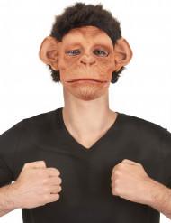 Máscara luxo látex chimpanzé com pêlos e boca articulada adulto