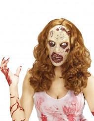 Peruca com máscara zombie adulto Halloween