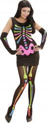 Disfarce esqueleto fluorescente mulher Halloween