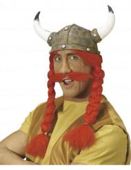 Capacete gaulês com tranças e bigode adulto