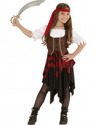 Disfarce pirata corpete castanho e preto menina
