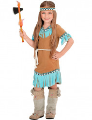 Disfarce pequena índia castanha e azul menina