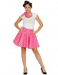 Saia e lenço cor-de-rosa às bolas brancas anos 50 mulher