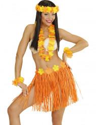 Kit havaiano cor de laranja e amarelo adulto