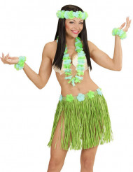 Kit havaiano azul e verde adulto