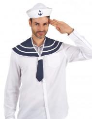 Chapéu e gola azul marinheiro adulto