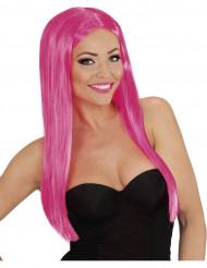 Peruca comprida glamour cor-de-rosa mulher