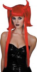 Peruca diabinha vermelha madeixas compridas mulher Halloween