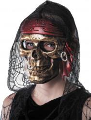 Máscara caveira pirata dourada adulto