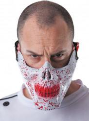 Meia máscara caveira ensanguentada adulto Halloween